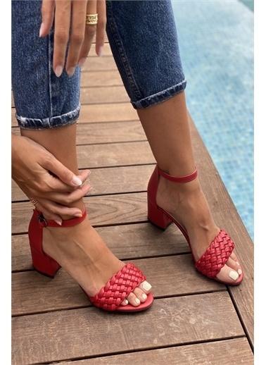 İnan Ayakkabı BAYAN TEK BANT İNCE ÖRGÜ BİLEKLİ TOPUKLU AYAKKABI Kırmızı